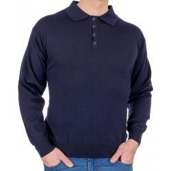 Granatowy sweter wełniany typu polo Kings 10441 kolor 1493 z guzikami