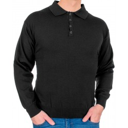 Czarny sweter wełniany polo Kings 10441 kolor 1403 r. M L XL 2XL
