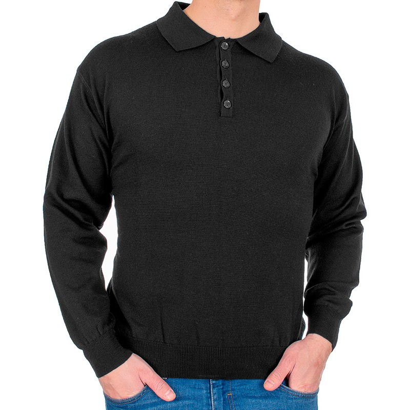 Czarny sweter wełniany polo Kings 10441 kolor 1403