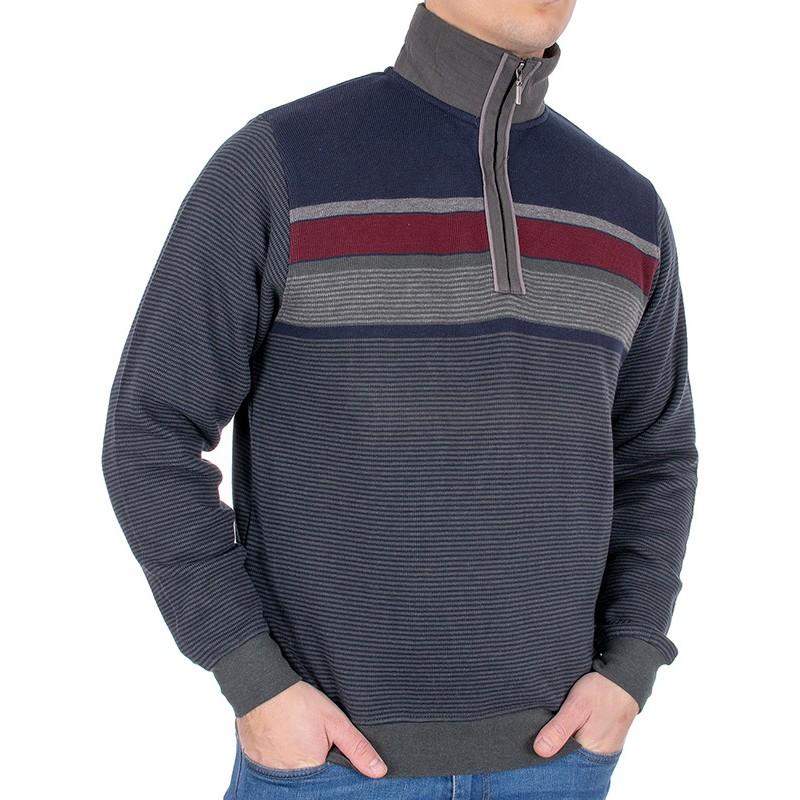 Bluza z krótkim zamkiem Belika 36P*500 2006 szara 9870 w paski