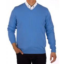 Sweter v-neck Lidos 1003 błękitny gładki roz. M, L, XL, 2XL, 3XL