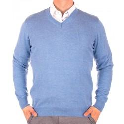 Błękitno-niebieski sweter w szpic Lidos 1203 roz. M L XL 2XL 3XL