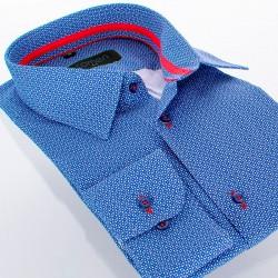 Niebieska koszula Comen slim z mikrowzorem 39 40 41 42 43 44 45 46