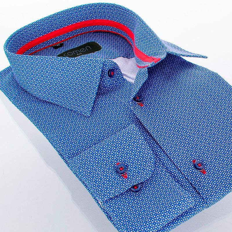 Niebieska koszula Comen slim z mikrowzorem - długi rękaw
