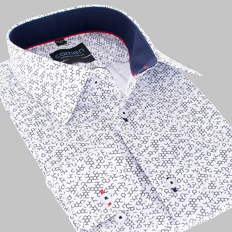 Biała koszula Comen regular dł. rękaw ze wzorem - plaster miodu