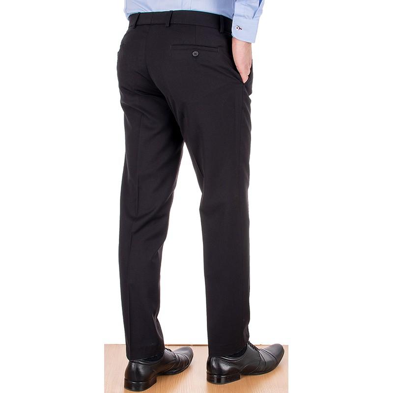 Zwężane czarne spodnie Lord Sp.066 wełniane w kant