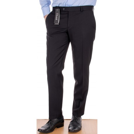 Czarne spodnie Lord Sp.326 wełniane w kant - zwężane