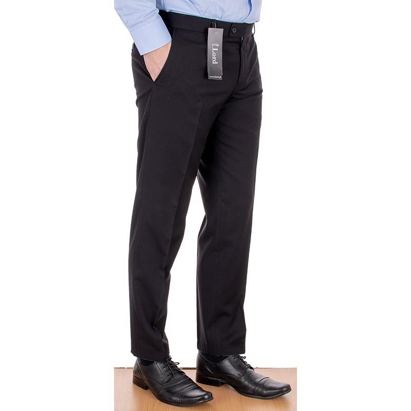 Zwężane spodnie wizytowe Lord Sp.060 wełniane w kant - czarne