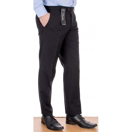 Wizytowe spodnie zwężane Lord Sp.052 wełniane w kant - czarne