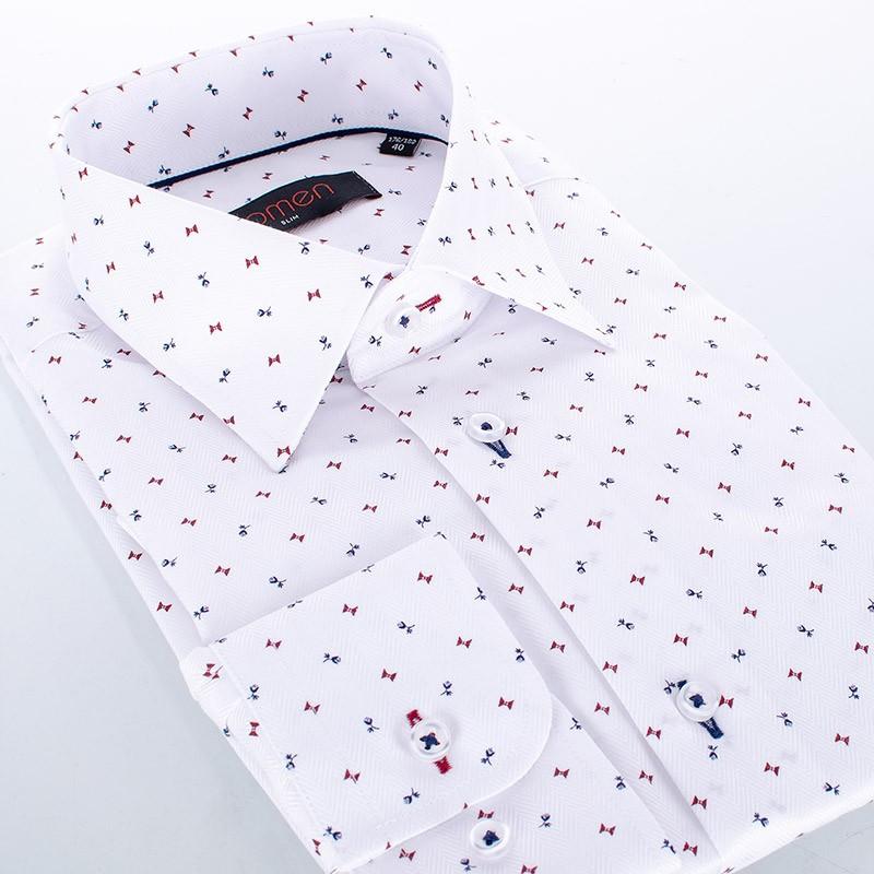 Biała koszula długi rękaw Comen ze wzorem w kwiatki i kokardy