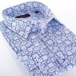 Niebieska koszula Comen regular w kwadraty i romby 41 42 43 44 45 46