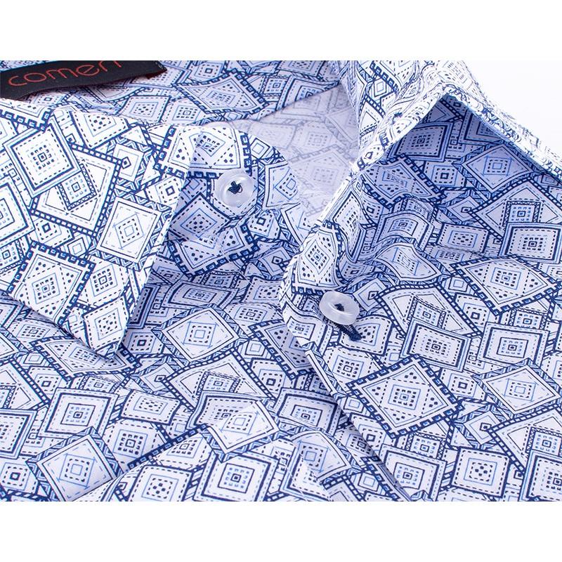 Niebieska koszula Comen z długim rękawem w kwadraty i romby - regular