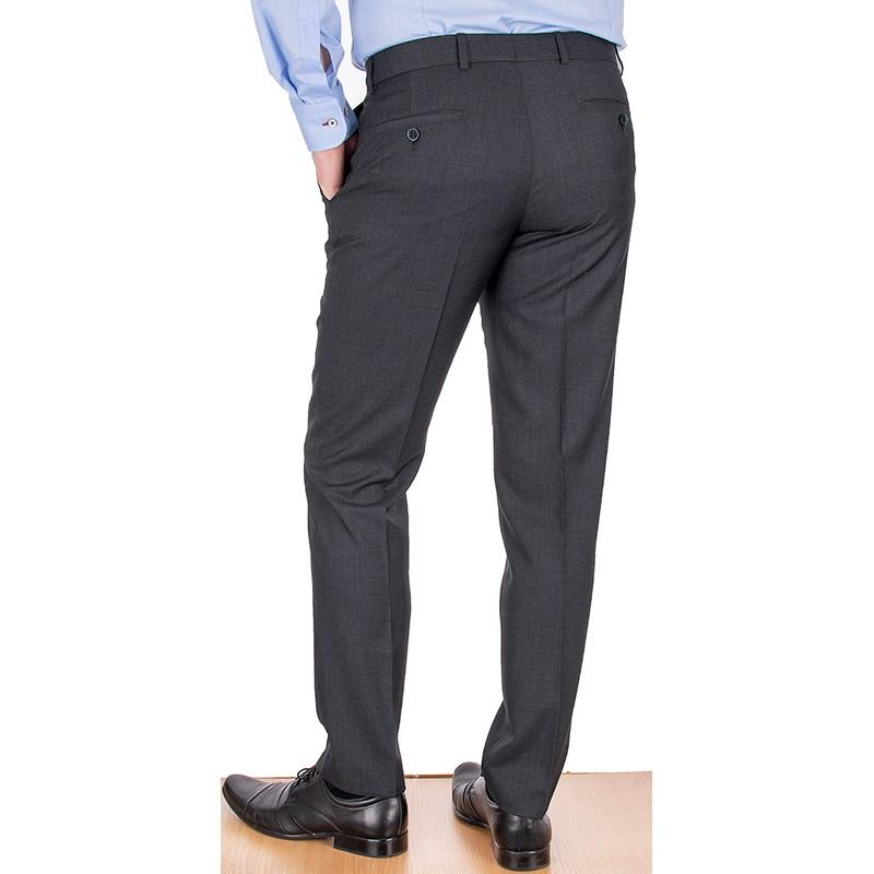 Wełniane grafitowe spodnie Lord Sp.058 w kant