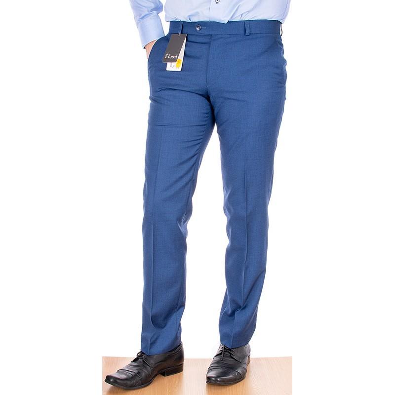 Niebieskie spodnie w kant Lord - wełniane, zwężane