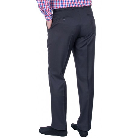 Granatowe niezwężane spodnie Lord w kant - wełnianie
