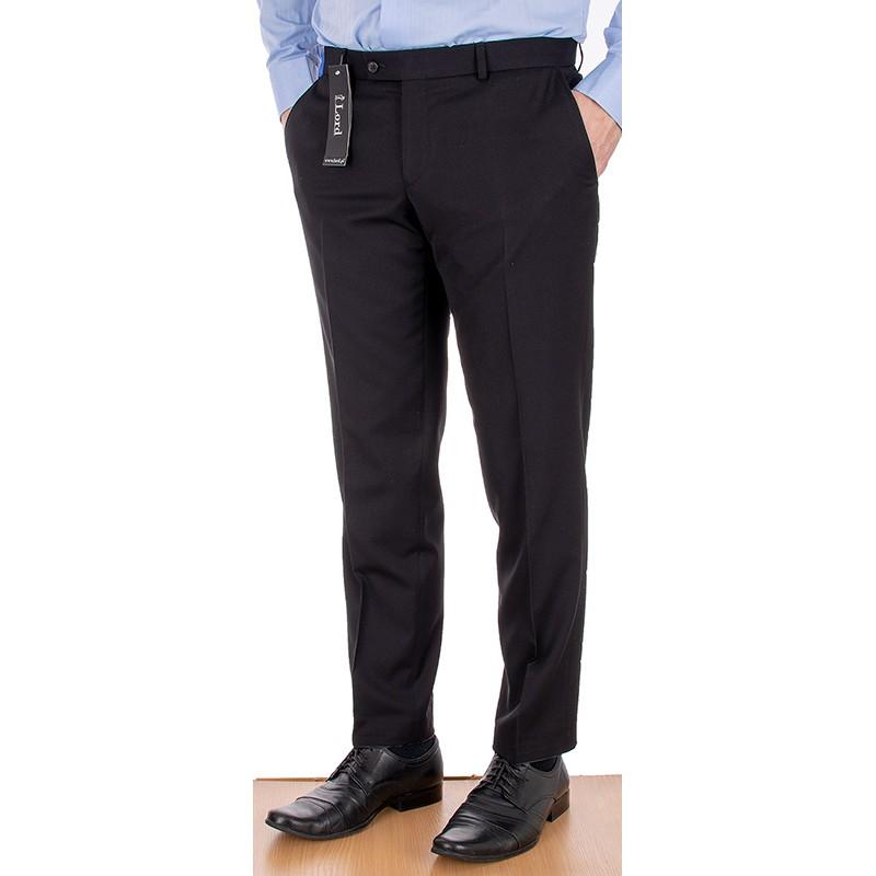 Czarne wizytowe spodnie Lord Sp.070 wełniane