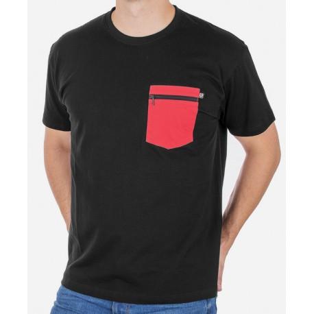 Czarna bawełniana koszulka t-shirt z kieszenią Kings 750-101Z