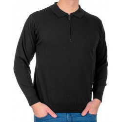 Czarny sweter wełniany typu polo Kings 10446 kolor 1403 r. M L XL 2XL