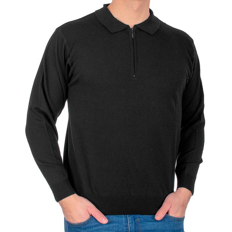 Czarny sweter wełniany typu polo Kings 10446 kolor 1403