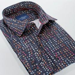 Granatowa koszula Comen z dł. rękawem slim r. 39 40 41 42 43 44 45 46