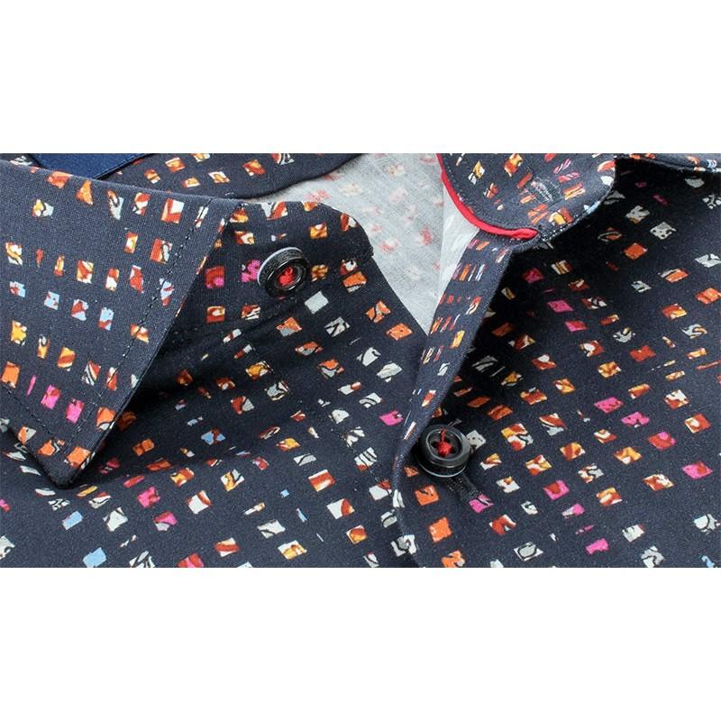 Granatowa koszula Comen slim z ciekawym wzorem 100% bawełna