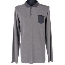 Szara koszulka polo z długim rękawem Lidos 2XL 3XL 4XL