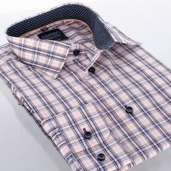 Koszula Comen slim w kratkę granatowo-beżową 39 40 41 42 43 44 45 46