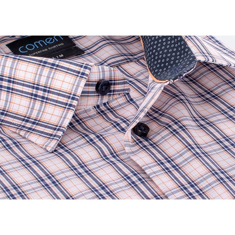 koszula w kratkę Comen granatowo-beżowa slim