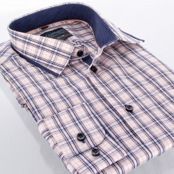 Koszula długi rękaw Comen kratka beżowa roz. 39 40 41 42 43 44 45 46
