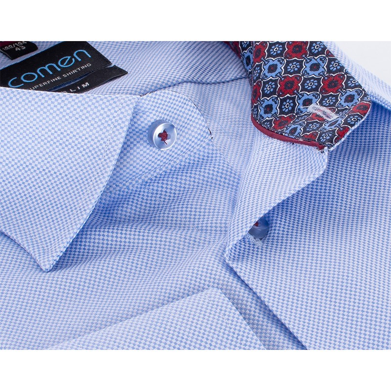 Błękitna koszula Comen z wykończeniem i strukturą materiału