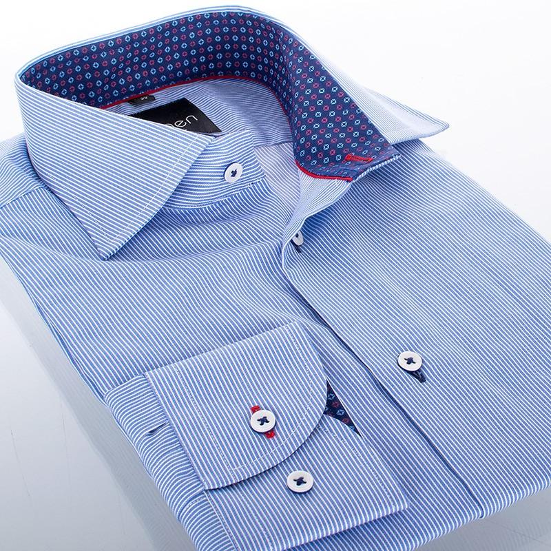Niebieska koszula Comen dł. rękaw w paseczki