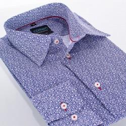 Koszula Comen dł. rękaw slim fioletowe kwiaty 39 40 41 42 43 44 45 46