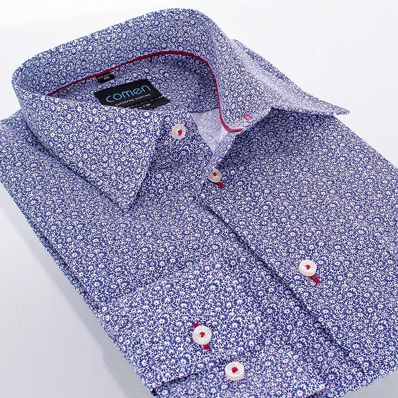 koszula Comen slim w fioletowe kwiatki - długi rękaw