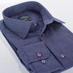 Granatowa koszula długi rękaw Comen slim w kropeczki 39 40 41 42 43 44