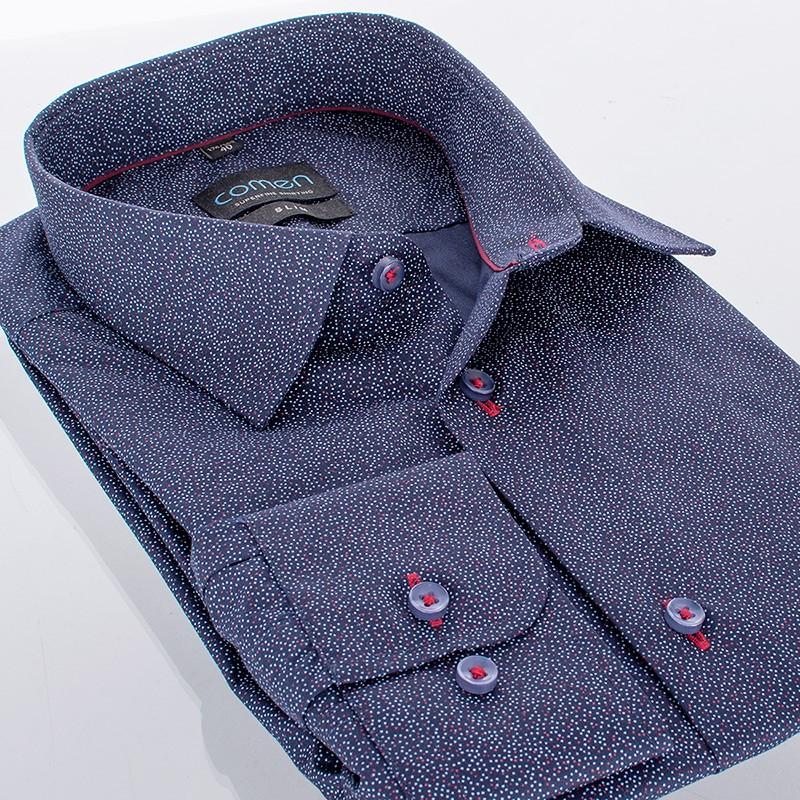 Granatowa koszula Comen z długim rękawem w kropki