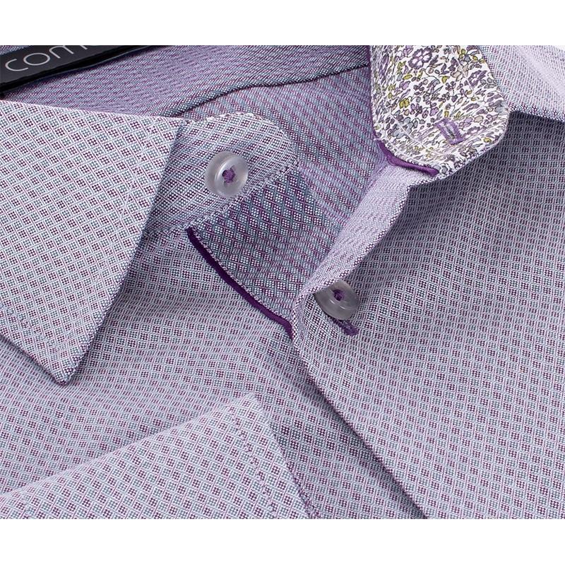 Szaro-fioletowa koszula Comen slim ze wzorkiem