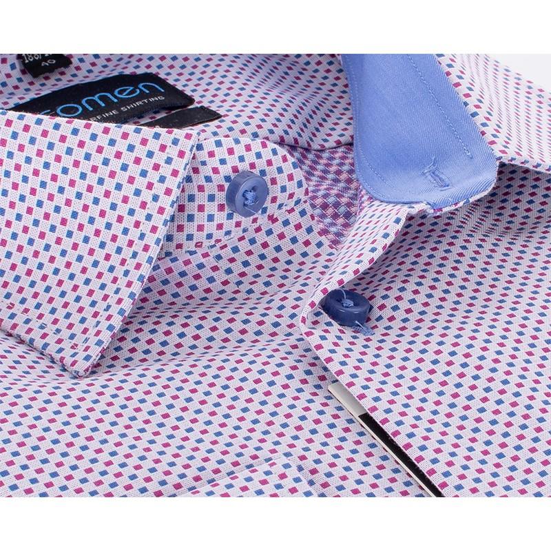 Koszula Comen w niebiesko-czerwone kwadraty - slim