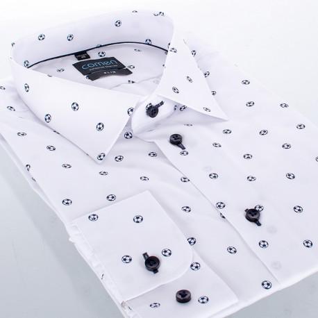 Biała koszula Comen w piłki z długim rękawem