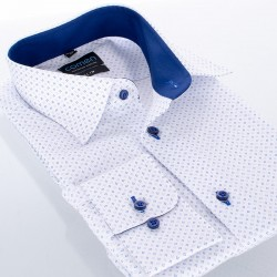 Biała koszula Comen slim z dł. rękawem wzorek 39 40 41 42 43 44 45 46