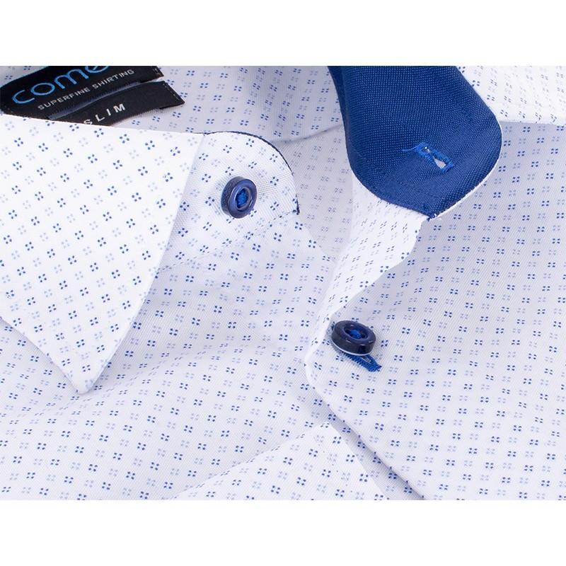 Koszula slim Comen długi rękaw biała ze wzorem