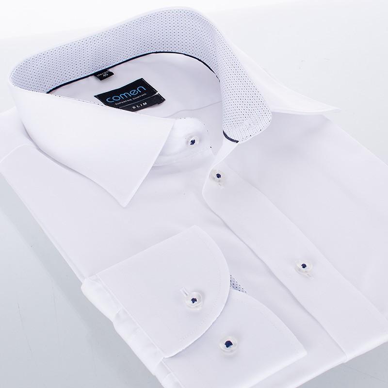 Koszula z długim rękawem Comen biała z wykończeniem w kropki