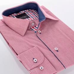 Koszula Comen slim dł. rękaw różowo-czerwone paski 39 40 41 42 43 44