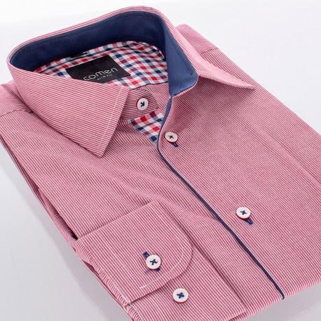 Koszula Comen slim dł. rękaw różowo-czerwone paski