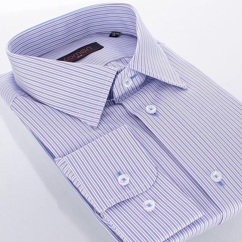 Niebiesko-fioletowa koszula Comen w pionowe paski