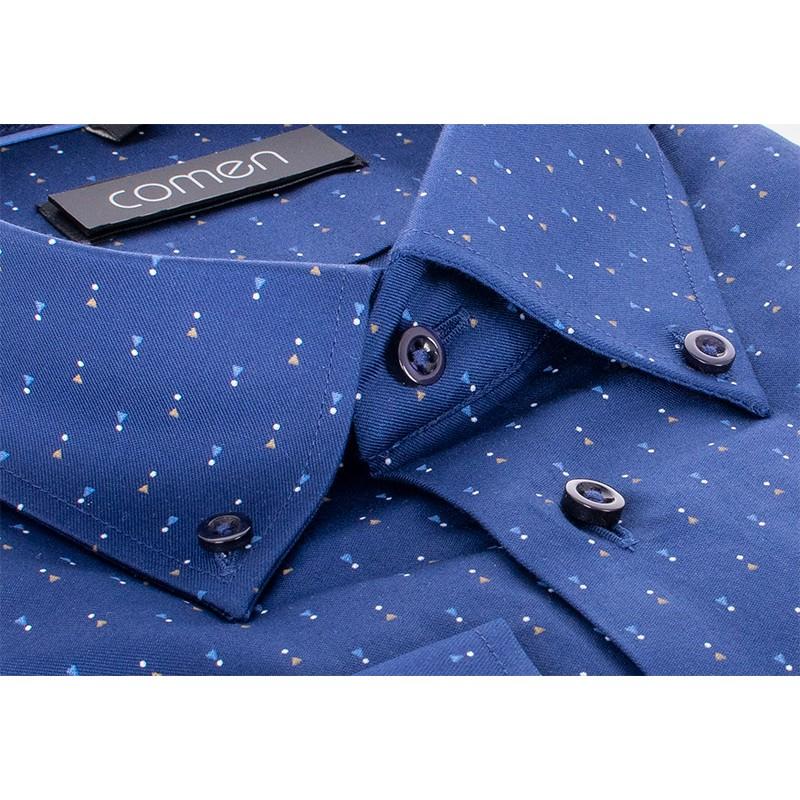 Granatowa koszula Comen ze wzorem w trójkąciki i kropki - długi rękaw slim