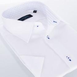 Biała koszula Comen z krótkim rękawem i granatowym przeszyciem - slim