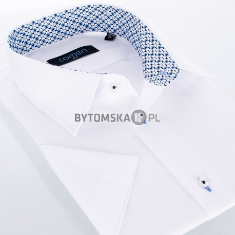 Biała koszula Comen z ciekawym wykończeniem - krótki rękaw slim
