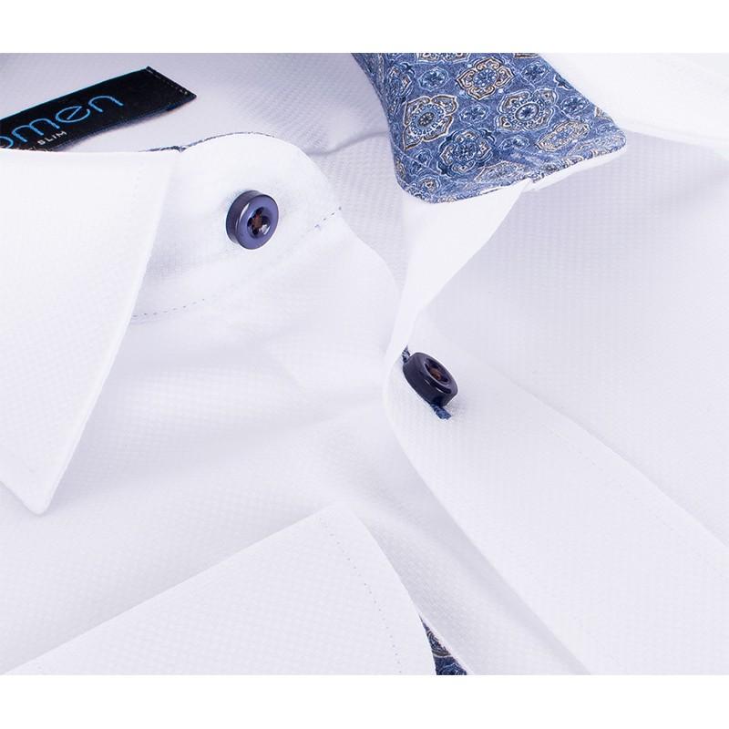 Biała bawełniana koszula Comen z długim rękawem - wzór turecki