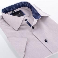 Szarobeżowa koszula Comen z krótkim rękawem i granatowym wykończeniem - slim