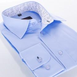 Niebieska koszula Comen z długim rękawem i białym wykończeniem wnętrza kołnierza